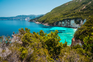 Stunning view of of seascape Ionian Sea, picturesque sea shore line Greece, Europe. Beauty of nature concept