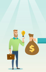 Successful businessman exchanging his business idea light bulb to money bag. Businessman selling business idea. Concept of successful business idea. Vector flat design illustration. Vertical layout.