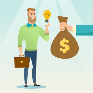 Successful businessman exchanging his business idea light bulb to money bag. Businessman selling his business idea. Concept of successful business idea. Vector flat design illustration. Square layout.