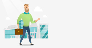 Successful businessman walking in the city street. Businessman walking down the street. Businessman walking to the success. Business success concept. Vector flat design illustration. Horizontal layout