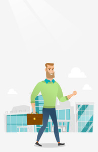 Successful businessman walking in the city street. Businessman walking down the street. Businessman walking to the success. Business success concept. Vector flat design illustration. Vertical layout.