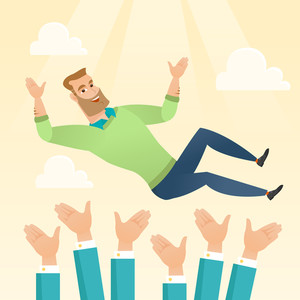 Successful happy caucasian businessman get thrown into the air by coworkers during celebration. Celebration of business success. Vector flat design illustration in the circle isolated on background.