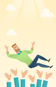 Successful happy caucasian businessman get thrown into the air by coworkers during celebration. Celebration of business success. Vector flat design illustration. Vertical layout.