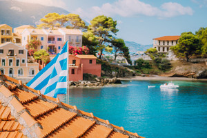Summer view of sunny Assos village. Greece vacation. Kefalonia Island, Ionian Sea