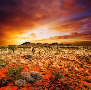 Sunset over a central Australian landscape
