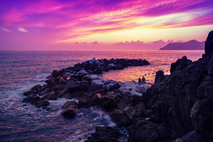 Sunset over rocky coast. Cinque Terre