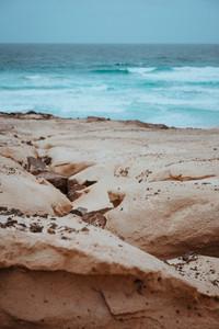 Surreal sand dunes on the Atlantic coastline on Baia Das Gatas. North of Calhau, Sao Vicente Island Cape Verde