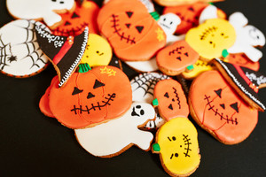 Tasty cookies baked for halloween treating
