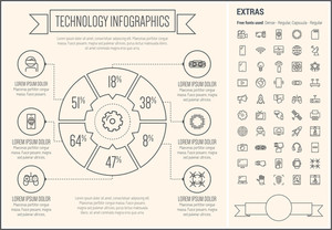 Technology infographic template and elements. The template includes the following set of icons - robot hand, virtual reality headset, wifi, smartphone, megaphone, television, gear, fax machine, game controller and more.