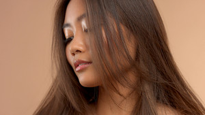 thai asian japanese model closeup portrait with hair covered her face