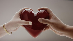 the hands of men and women holding the heart on grey