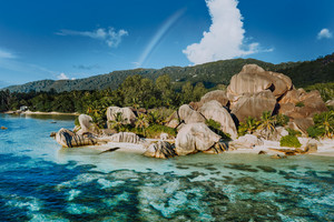 The most beautiful Anse Source D'Argent tropical beach, La Digue Seychelles. Luxury exotic travel concept