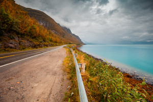 The road along the fjord. Lofoten Islands. Norway