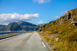 The road along the fjord. The road to the North Cape, Norway
