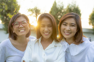 three asian woman friend happiness emotion vacation time
