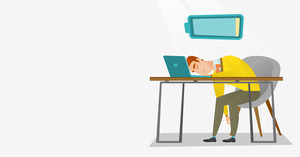 Tired caucasian employee sleeping on the keyboard of laptop. Overworked employee sleeping at workplace. Exhausted businessman sleeping in office. Vector flat design illustration. Horizontal layout.