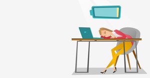 Tired caucasian employee sleeping on the keyboard of laptop. Overworked employee sleeping at workplace. Exhausted businesswoman sleeping in office. Vector flat design illustration. Horizontal layout.