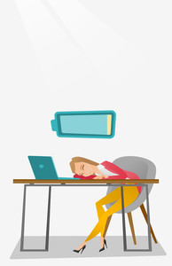 Tired caucasian employee sleeping on the keyboard of laptop. Overworked employee sleeping at workplace. Exhausted businesswoman sleeping in office. Vector flat design illustration. Vertical layout.