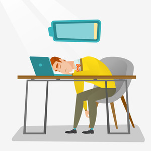 Tired caucasian employee sleeping on the keyboard of laptop. Overworked young employee sleeping at workplace. Exhausted businessman sleeping in office. Vector flat design illustration. Square layout.