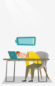 Tired caucasian employee sleeping on the keyboard of laptop. Overworked young employee sleeping at workplace. Exhausted businessman sleeping in office. Vector flat design illustration. Vertical layout