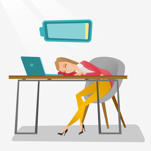 Tired caucasian employee sleeping on the keyboard of laptop. Overworked young employee sleeping at workplace. Exhausted businesswoman sleeping in office. Vector flat design illustration. Square layout