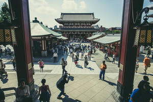 TOKYO JAPAN - SEP 12,2015 : large number of tourist in Sensoji Asakusa Kannon Temple most popular traveling destination in tokyo