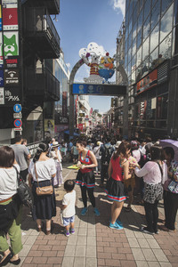 TOKYO JAPAN - SEPTEMBER12,2015 : large number of tourist walking in takeshita street most popular traveling destination in harajuku tokyo japan