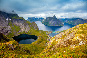 Top view from mountain at fjord. Reine, Norway