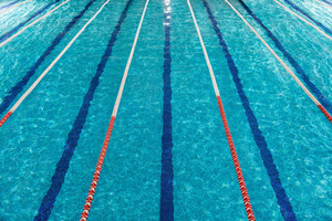 Top view of swimming pool lanes
