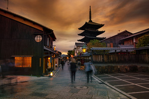 tourist attraction of yasaka shrine street one of most popular traveling destination in kyoto japan