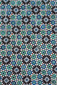 Traditional ornate portuguese decorative blue colored tiles azulejos