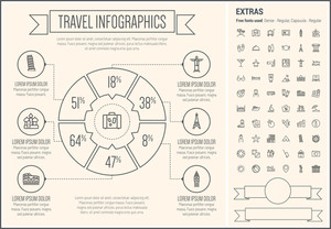 Travel infographic template and elements. The template includes the following set of icons - beach ball, waiter, starfish, towel, dice, bed, luggage, laptop, wifi, card, food and more.