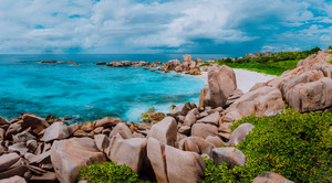 Tropical island panorama, trail to hidden secret beautiful beach, Anse Marron, La Digue, Seychelles