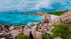 Tropical island panorama, trail to hidden secret beautiful beach, Anse Marron, La Digue, Seychelles