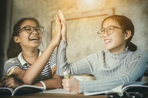two asian teenager happiness emotion celebrating education successful