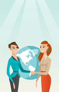 Two business partners shaking hands. Business partners handshaking after successful deal on a world map background. International business partnership. Vector flat design illustration. Vertical layout