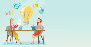 Two business women working on a business idea. Business women thinking about new creative idea. Businesswoman sharing ideas. Business idea concept. Vector flat design illustration. Horizontal layout.