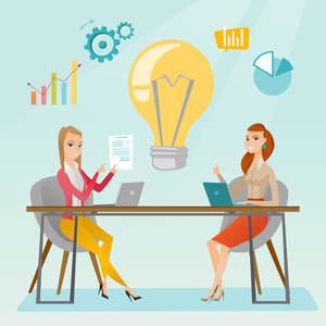 Two business women working on a new business idea. Business women thinking about new creative idea. Businesswoman sharing ideas. Business idea concept. Vector flat design illustration. Square layout.