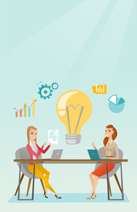 Two business women working on a new business idea. Business women thinking about new creative idea. Businesswoman sharing ideas. Business idea concept. Vector flat design illustration. Vertical layout