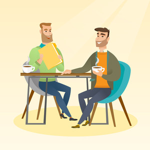 Two businessmen talking at a business meeting. Businessmen drinking coffee at a business meeting. Two caucasian businessmen during business meeting. Vector flat design illustration. Square layout.