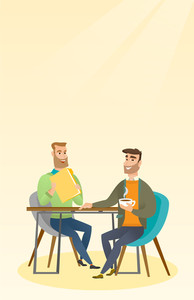 Two businessmen talking at a business meeting. Businessmen drinking coffee at a business meeting. Two caucasian businessmen during business meeting. Vector flat design illustration. Vertical layout.