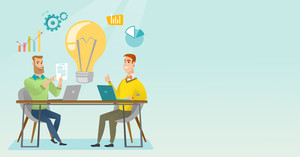 Two businessmen working on a business idea. Businessmen thinking about new business idea. Businessman sharing business ideas. Business idea concept. Vector flat design illustration. Horizontal layout.