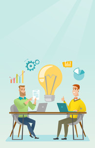 Two businessmen working on a business idea. Businessmen thinking about new business idea. Businessman sharing business ideas. Business idea concept. Vector flat design illustration. Vertical layout.