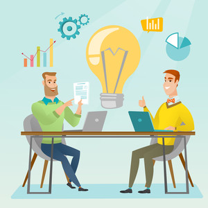 Two businessmen working on a new business idea. Businessmen thinking about new business idea. Businessman sharing business ideas. Business idea concept. Vector flat design illustration. Square layout.