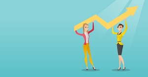 Two caucasain smiling business women holding growth graph. Cheerful business team with growth graph. Concept of business growth and teamwork. Vector flat design illustration. Horizontal layout.