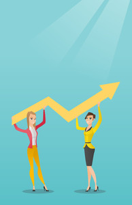 Two caucasain smiling business women holding growth graph. Cheerful business team with growth graph. Concept of business growth and teamwork. Vector flat design illustration. Vertical layout.