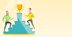 Two caucasian business men competing to get golden trophy. Two competitive business men running up for the winner cup. Business competition concept. Vector flat design illustration. Horizontal layout.