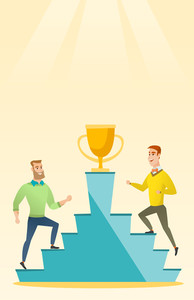 Two caucasian business men competing to get golden trophy. Two competitive business men running up for the winner cup. Business competition concept. Vector flat design illustration. Vertical layout.