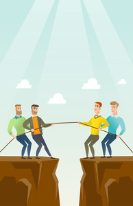 Two caucasian business team pulling rope on cliff. Competition between two teams of business people. Concept of team work and competition in business. Vector flat design illustration. Vertical layout.