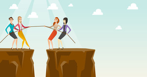 Two caucasian business team pulling rope on cliff. Competition between two teams of business people. Team work and competition in business concept. Vector flat design illustration. Horizontal layout.